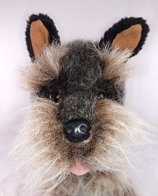 "EUC MINIATURE SCHNAUZER Stuffed Plush Dog by E & J Classic 13""  VERY REALISTIC!"