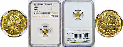 Undated 25c Round Liberty Head Gold Coin NGC MS-63