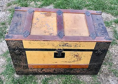 Antique Flat Top Tin Brass Leather Wood  Ornate Steamer Trunk 1800's Victorian