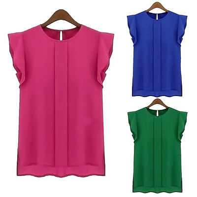 Women Ladies Summer T-shirt Tank Tops Chiffon Shirt Casual Blouse Loose Vest New