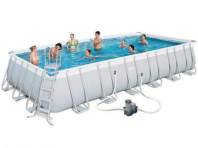 Above ground swimming pool rectangular Bestway 56474 pump filter 732 X 366 H 132