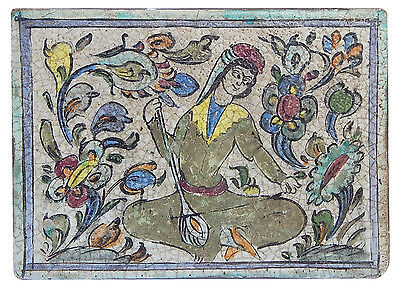 18th C. Antique Persian Islamic Hand Painted Qajar Ottoman Tile Dervish