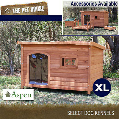 NEW Aspen Extra Large Flat Roof Wooden Dog House Wood Timber XL Kennel