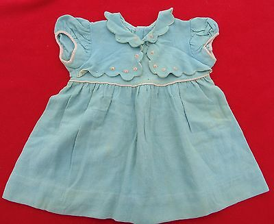 Antique Child's Blue Linen Handmade, Embroidered Dress ~ Size 12-18 Months