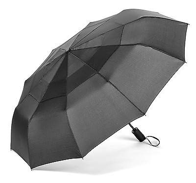 Pomelo Best Double Canopy Windproof Umbrella Auto Open and Close Black