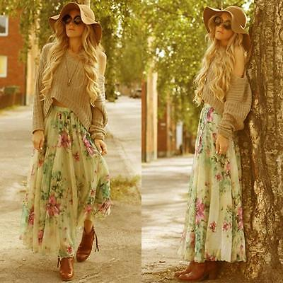 Women Chiffon Pleated Long Beach Maxi Boho Dress Floral Elastic Waist Long Skirt