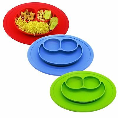 Happy Baby Kid Food Placemat One Piece Silicone Mat Divided Dish Bowl Plate Mini