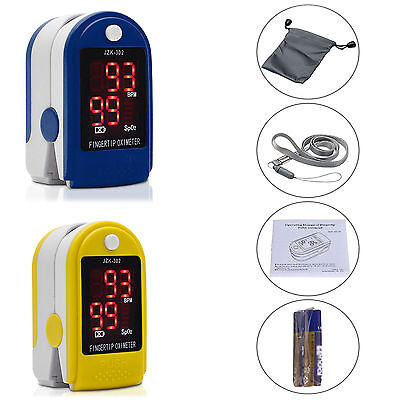 Finger Pulse Oximeter Sensor Blood Oxygen SpO2 Monitor PR Heart Rate+Battery Bag