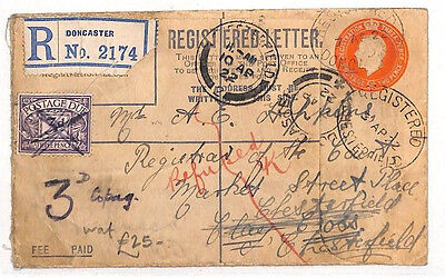 AS86 1922 GB Doncaster Registered Cover. Redirected. 3d Postage Due
