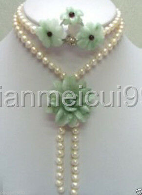 Charming freshwater pearl & jade necklace earring ring