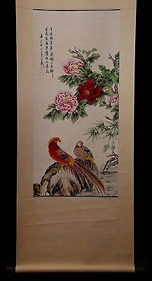 Unique Long Old Chinese Scroll Hand Painting Birds On A Stone Mark WangWu PP637