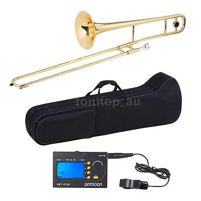 ammoon Alto Trombone Brass Gold Lacquer Bb Tone B flat+ 3in1 Metro-Tuner Case