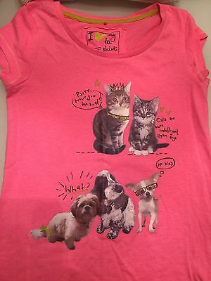 Zara kids girls pink tshirts cats animals age 9-11