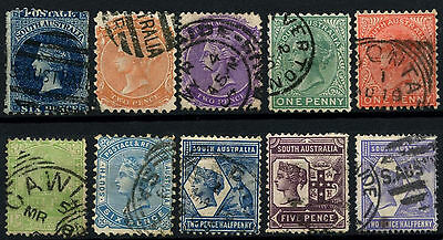 South Australia 10 Different Queen Victoria QV Stamps Used #D47281