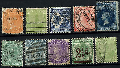 South Australia 10 Different Queen Victoria QV Stamps Used #D47278
