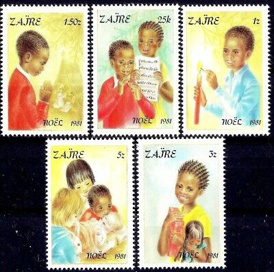 Zaire 1981 Christmas Children Prayer Greetings Gifts Doll Candle Music/Flute MNH