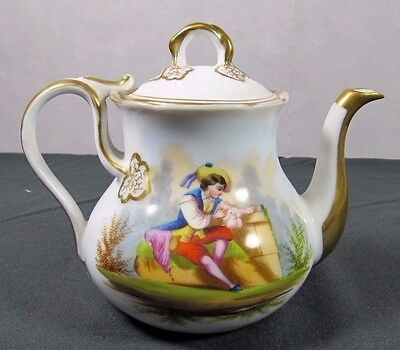 Antique Teapot: 19thC Paris Porcelain French Hand Painted Scene Meissen Dresden