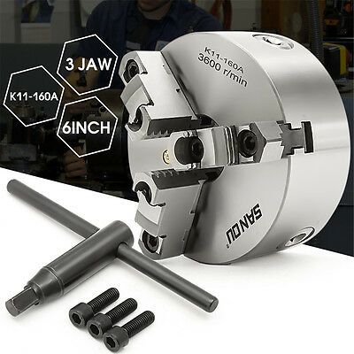 SANOU Lathe Chuck 6'' 6 Inch 3 Jaw Self Centering & Reversible Jaw K11-160A Tool