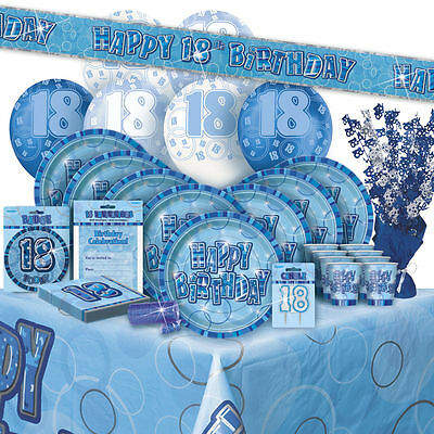 AGE 18 - Happy 18th Birthday BLUE GLITZ - Party Range, Banners & Decorations