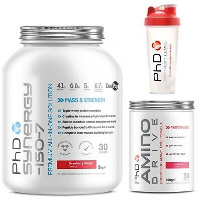 PhD Nutrition Synergy Iso-7 2kg all in one+ Amino Drive 300g & shaker may vary
