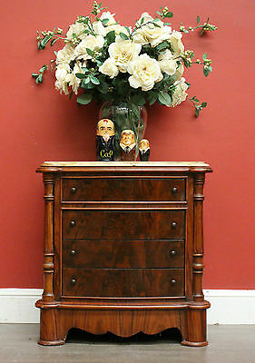Vintage Mahogany and Marble Top 4 Drawer Bedside Table Lamp / Side Cupboard