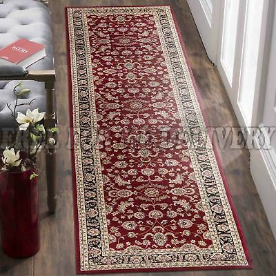 VALENTI ALLOVER RED BLACK TRADITIONAL FLOOR RUG RUNNER 80x300cm *FREE DELIVERY**