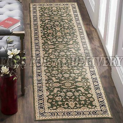 VALENTI ALLOVER GREEN BLACK TRADITIONAL RUG RUNNER 80x300cm **FREE DELIVERY**
