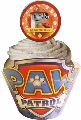 Paw Patrol Cupcake Wraps and Toppers (12 Wraps & 12 Toppers Supplied)