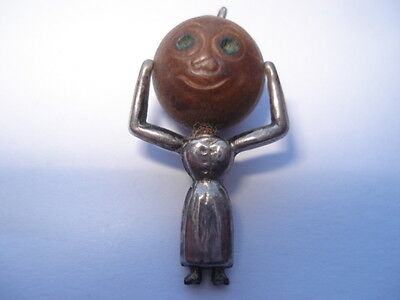 Cww1 Vintage Scarce Mrs Touchwood Silver Lady Good Luck Charm Pendant