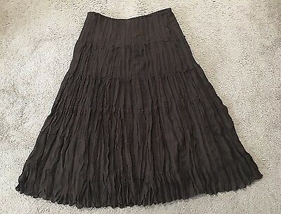 Women's Allison Taylor Brown Polyester Lined Elastic Waist Skirt-Size Large