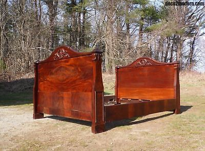 Antique Flame Mahogany Double Full Bed Carved Wood c 1800's Gothic Spires