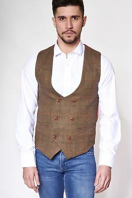Mens Marc Darcy Designer Double Breasted Tan Check Tweed Waistcoat
