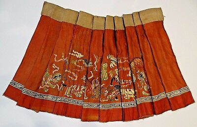 19th C. Qing Dyn Chinese Silk Embroidered Fu-Lion Skirt w Peacock Feathers