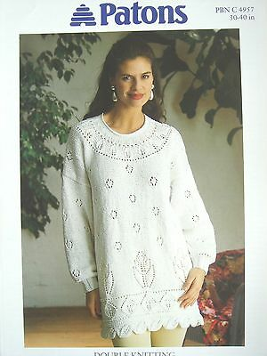 PATONS 4957 - LADIES DK LACY TUNIC KNITTING PATTERN 30/40in