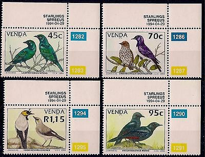 Venda 1994 Starlings Birds Nature Conservation Wildlife 4v set MNH