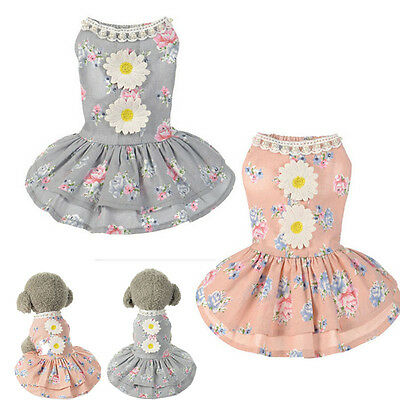 Dog Cat Bow Tutu Dress Lace Pet Skirt Puppy Dog Dress Costume Apparel Clothes
