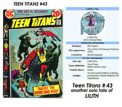 TEEN TITANS # 43 nice VG Filler LILITH solo tale NICK CARDY Art! $5= CHEAP L@@K!