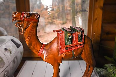 Vintage Antique Collectible Hand Carved Wooden Egyptian Camel 1940-1950 16""