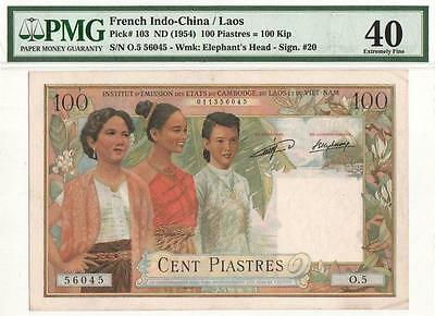 French Indochina 100 Piastres Laos Issue P-103 ND 1954 PMG 40 Extra Fine