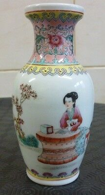 Chinese Republic Period Porcelain Famille Rose Lady & Calligraphy Vase