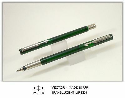 Parker Vector Translucent Green Fountain Pen Medium Nib
