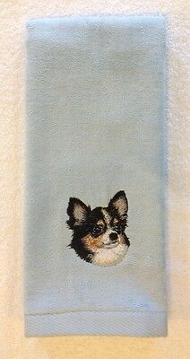 Chihuahua Long Coat, Hand Towel, Embroidered, Custom, Personalized, Dog, Tri