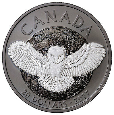 2017 Canada Barn Owl 1 oz Silver Rhodium-Plated Matte Proof In OGP SKU46436