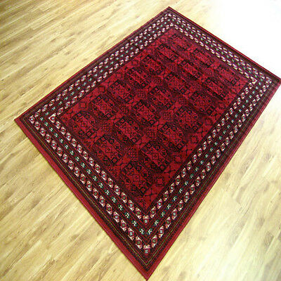 330x240cm Extra Large Floor Rug Persian Traditional Pattern Design Red Black