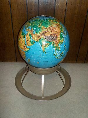 "Vintage George F Cram X Large 50"" Circumference World Globe With Art Deco Stand"