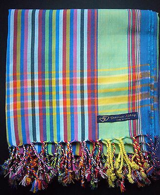 African Kenya Kikoy Cotton Sarong Throw Scarf Green Blue Multi Stripe Swimwear