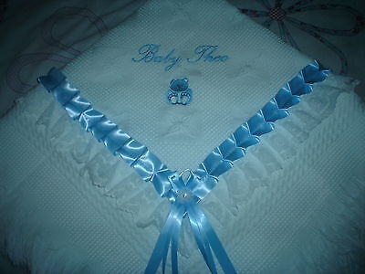 beautiful white/blue baby boys shawl **NEW**  PERSONALISED