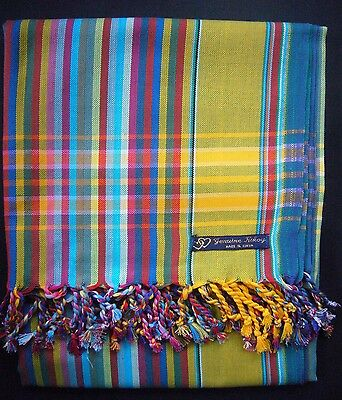 African Kenya Kikoy Cotton Sarong Throw Scarf Yellow Blue Multi Stripe Swimwear