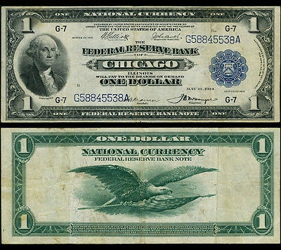 FR. 729 $1 1918 Federal Reserve Bank Note Chicago Very Fine