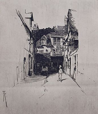 Fine etching by Richard Toovey (1861-1927). The Courtyard, Dieppe, France.